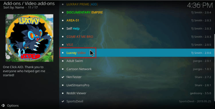 Select Luxray Video to Install the addon on Kodi