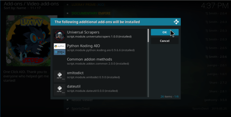 Accept aditional addons to proceed with the install of Luxray Video Addon on Kodi