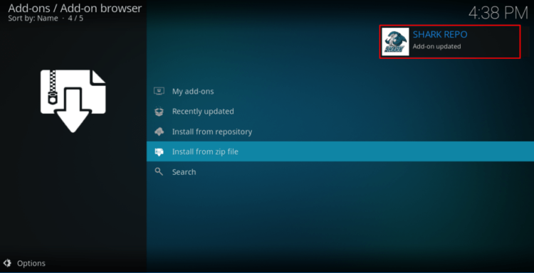 Wait for the shark repo successful install message before proceed with the Install of the Sports Classic Kodi Addon