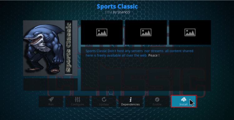 Click Install to proceed with the Sports Classic Kodi Addon