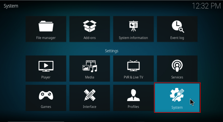 Select System on Kodi settings