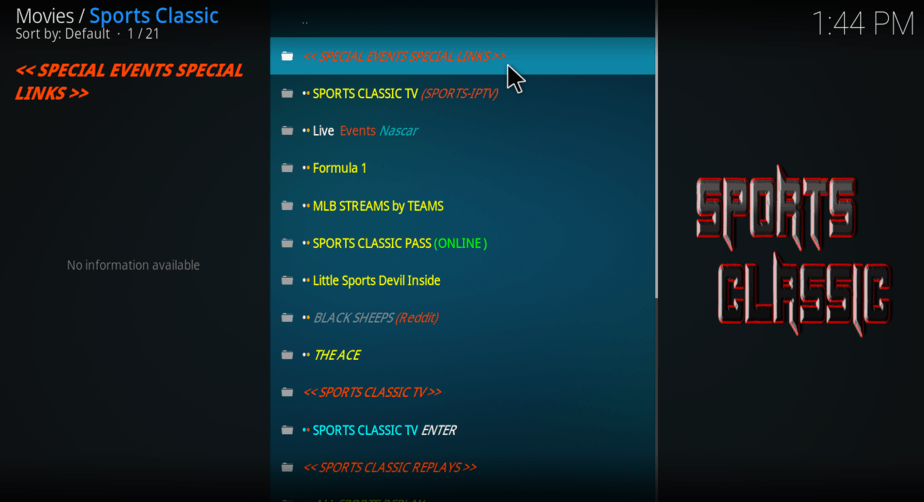 After the successful install you're good to open your Sports Classic Addon on Kodi