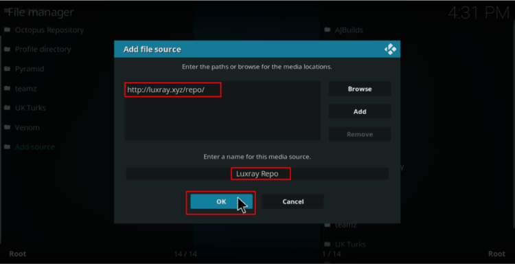 Add the Luxray repo source to Install Luxray Video Kodi Addon