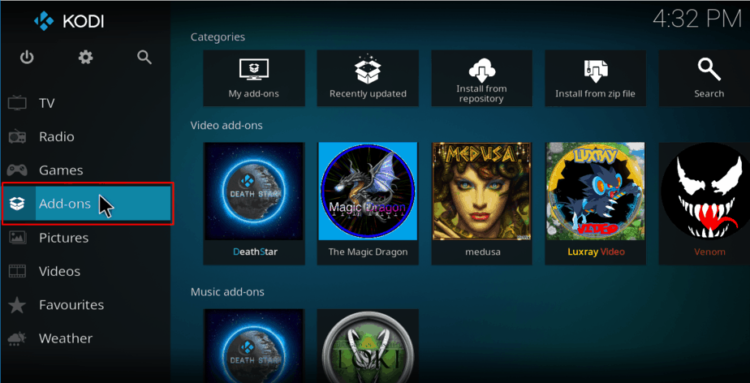 Select Add-ons to proceed with the Luxray repository on Kodi