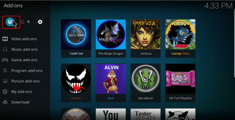 Open addons manager on Kodi