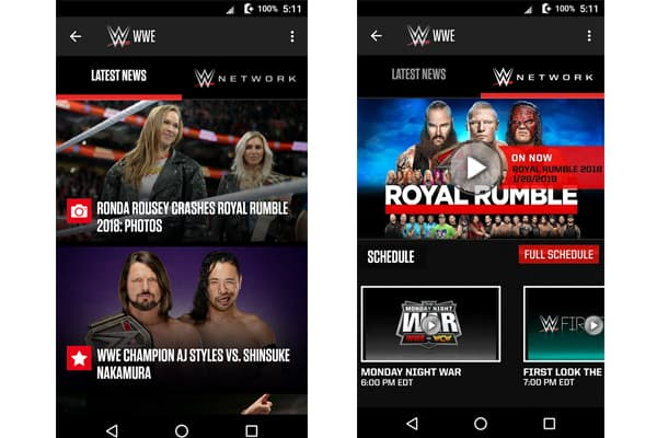 sports fusion wwe news application for Android