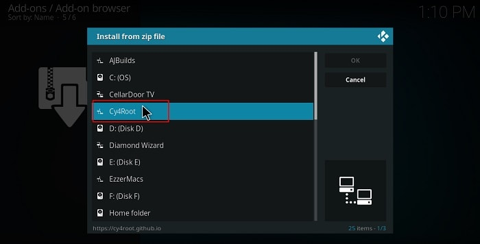Choose cy4root zip file name to install the repo that will be the base to install MirRoR Video Kodi Addon on your Kodi