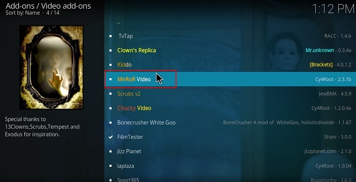 Find and select MirRoR Video Addon to install on Kodi