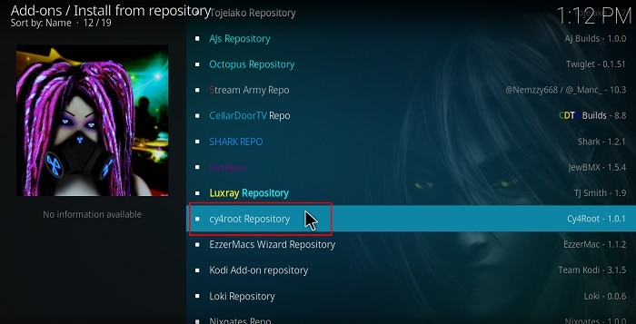 Selec cy4root repository to install the MirRoR Video Kodi Addon