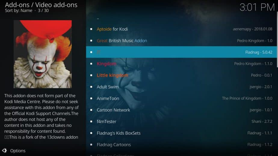 Select IT to install this Kodi Addon