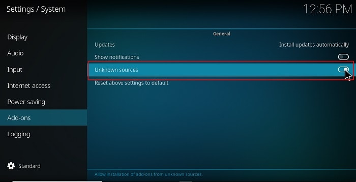 Enable unknown sources before Install Blue Magic Build on Kodi