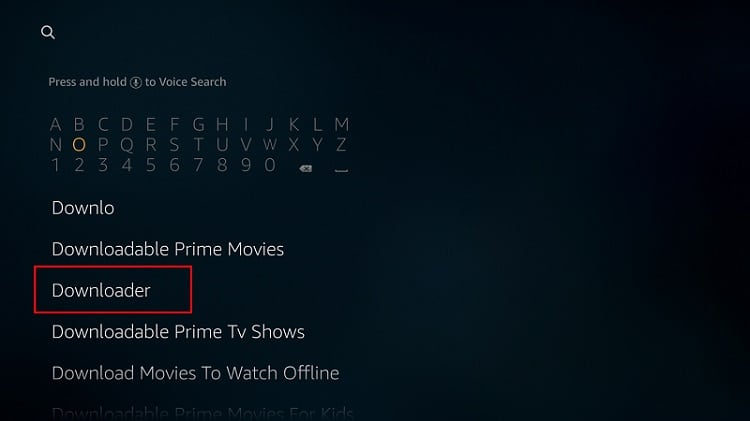 "To install the Downloader app, tipe ""Downloader on firestick search box"