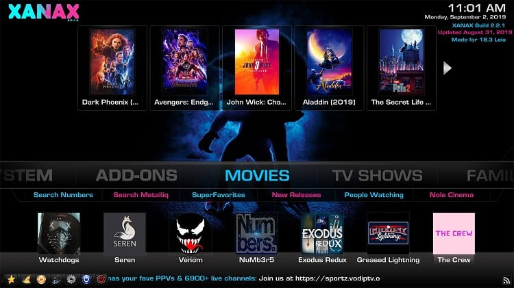 Xanax is one of the best kodi builds for Live TV