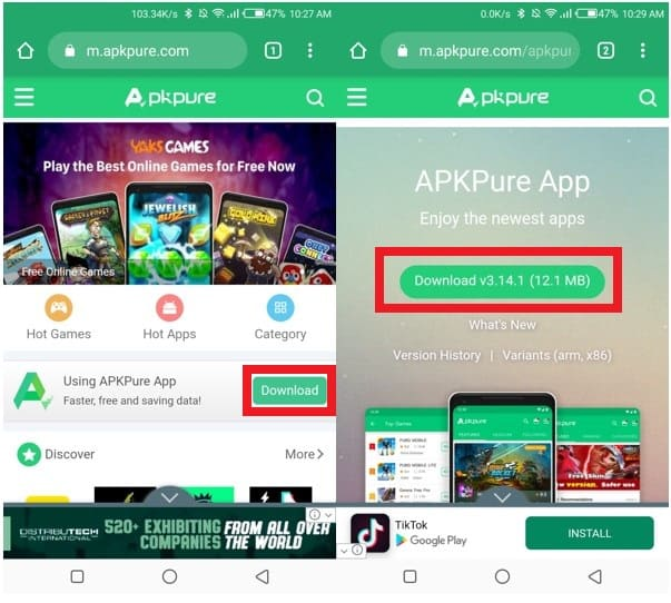 Download and install APKPure on your Smartphone