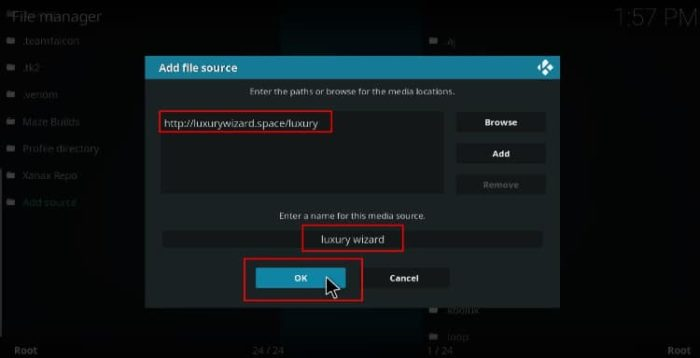 Enter the Blue Magic repository url, to Install Blue Magic Build on Kodi