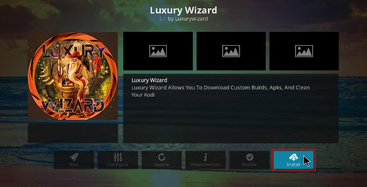 Install the Luxury Wizard to later install Blue Magic Build on Kodi