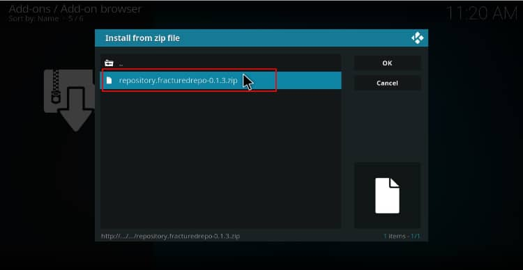 To install Joker 2.0 Kodi Addon, select the zip file containing the repository