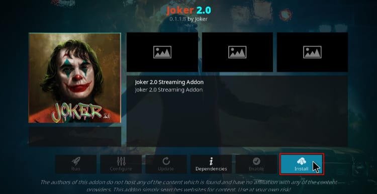 Hit install to install Joker 2.0 Addon on Kodi