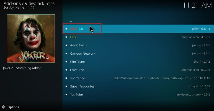 Select Joker 2.0 to install the addon on Kodi