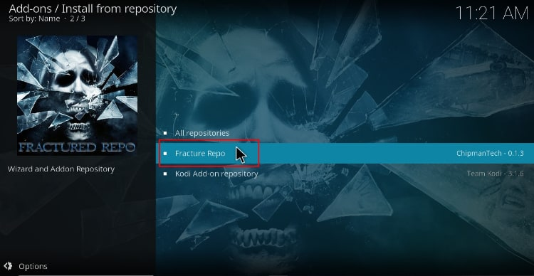 On the repositories select Fractured Repo to proceed with the Joker 2.0 Addon on Kodi
