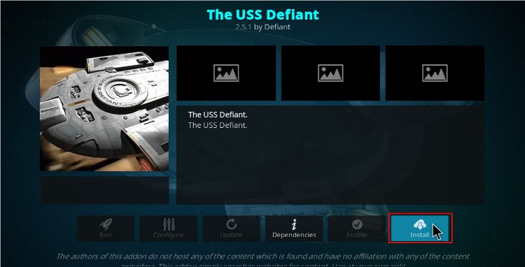 Hit the install button to finish the USS Defiant Kodi Addon Installing