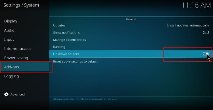 Before install FEN the Addon you need to enable unknown sources on Kodi