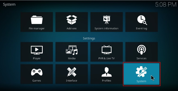 Click System to access the System definitions on Kodi