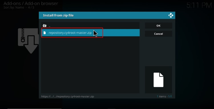 Select the cy4root repository zip file to install the TVTap Addon on Kodi