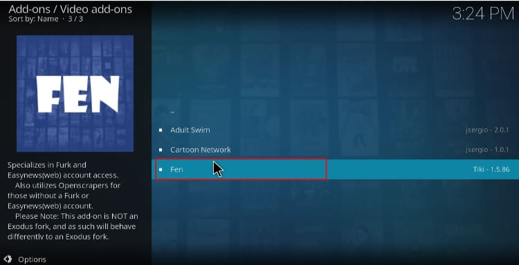 Select FEN to proceed with the install on Kodi