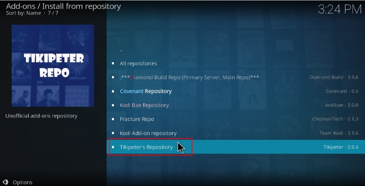Select the Tikipeter's repository to install FEN Addon on Kodi