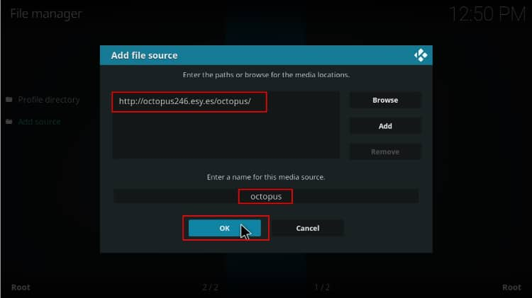 Enter the Octopus source repo to Install TVOne 111 Addon on Kodi