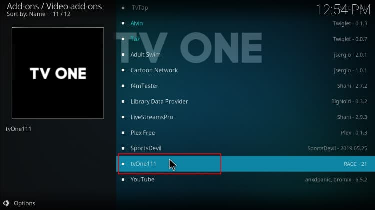 Find and select TVOne 111 Addon to install on Kodi