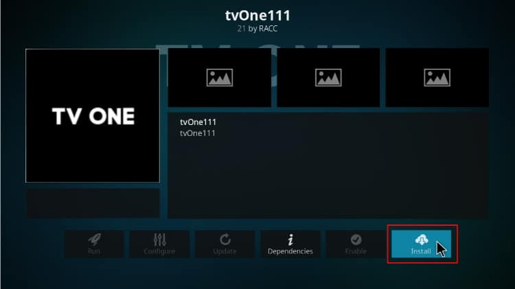 Hit the button Install to proceed with the TVOne 111 Addon installing on Kodi