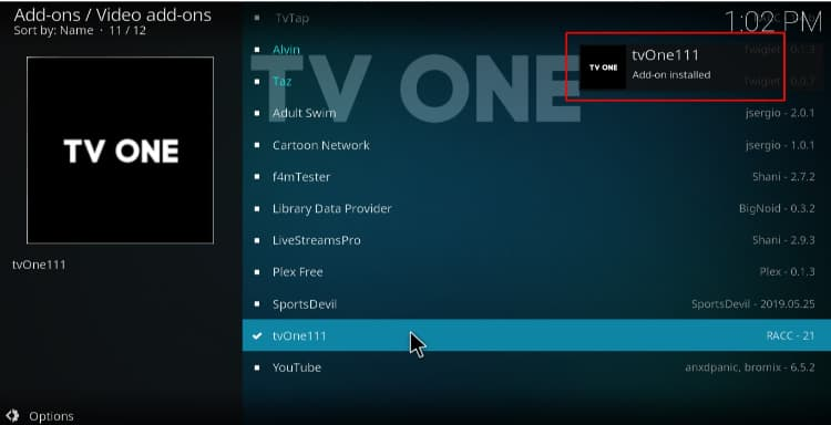 Wait for the successful TVOne 111 Addon install on Kodi message