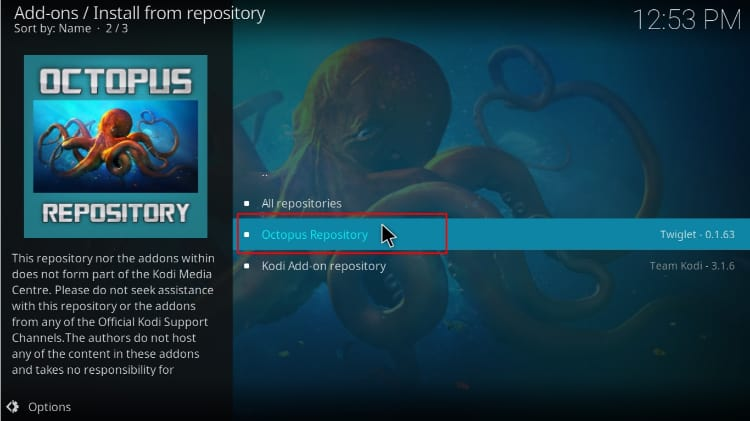 Select the Octopus repository on Kodi