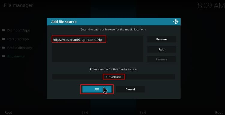 Enter the Covenant url Repo, to be able to latter install the Addon on Kodi