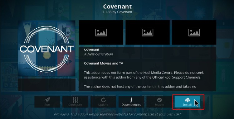 Hit Install to proceed with the Covenant Addon installing on Kodi