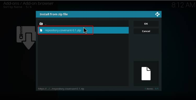 Select the zip file to install the Covenant repository of the addon on Kodi