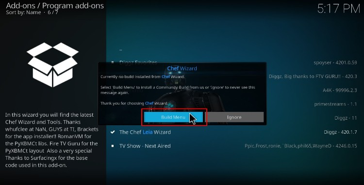 Build menu of Chef Wizard to proceed with the Diggz Xenon Kodi Build install