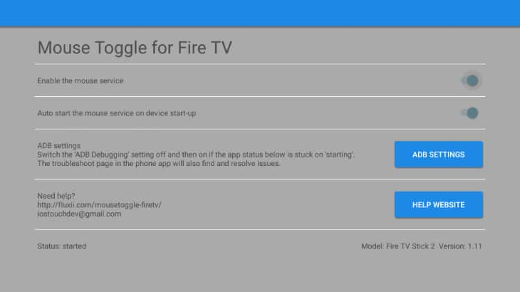 After the install, check the configurations for Mouse Toggle on your Firestick or Fire TV
