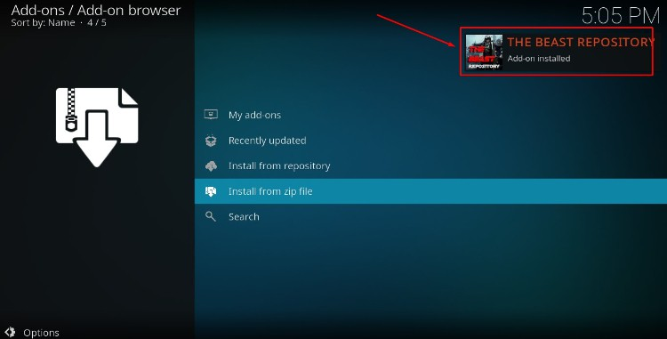 Wait for the successful install message confirmation to pop-up on Kodi