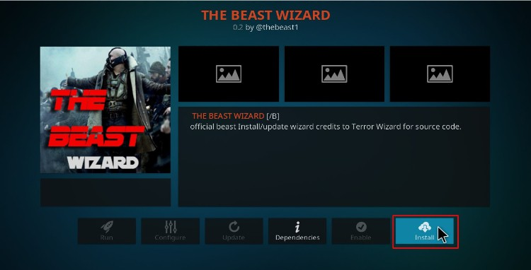 Hit the button to install The Beast Wizard on Kodi