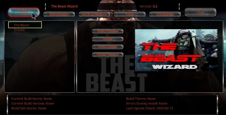Open The Beast Wizard and hit the Builds button on Kodi