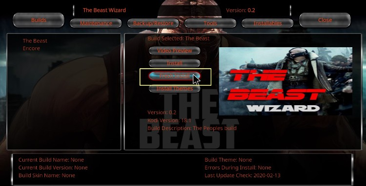 Select The Beast to install on Kodi choosing the preferred configuration option