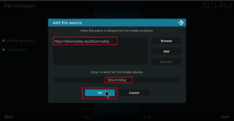 Enter the Doomzday buid repo source url on Kodi