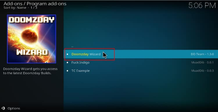 Select Doomzday Wizard on Kodi Program add-ons