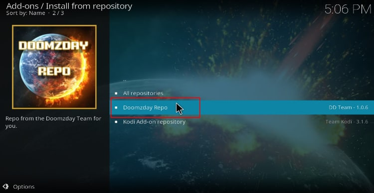 Select the Doomzday Repository on Kodi