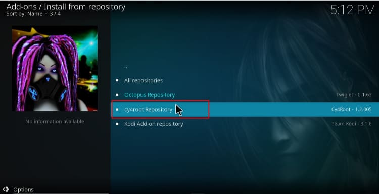To install laplaza Addon on Kodi select the cy4root repository