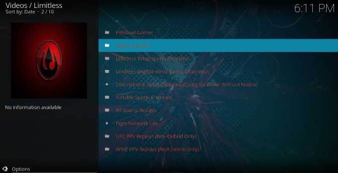 After the Limitless Addon install, enjoy Movies, TV Shows, Live TV and more on your Kodi for free