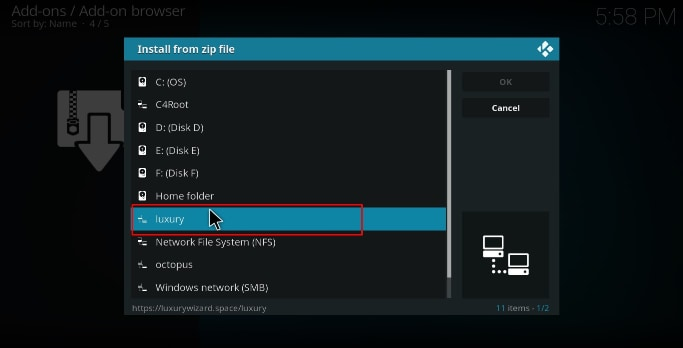 Select the name you gave for the luxury repo's source on Kodi